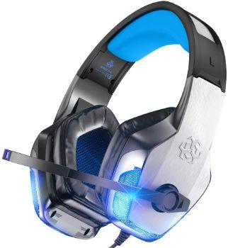 Bengoo ゲーミングヘッドセット PS4 ヘッドセット ヘッドホン ヘッドフォン マイク付き LED付き 3.5mm ノイズキャンセリング PS4 PC Switch XBox oneに対応 V4 ブルー