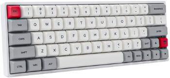 Epomaker SK64 64キー熱昇華プロセスを経ったメカニカルキーボード RGBバックライト&PBTキーキャップ&Arrowキーが搭載され 防塵機能をもって Win/Mac/Gamingなどに対応でき有線メカニカルキーボード (Gateron茶軸, グレー(ホワイト))
