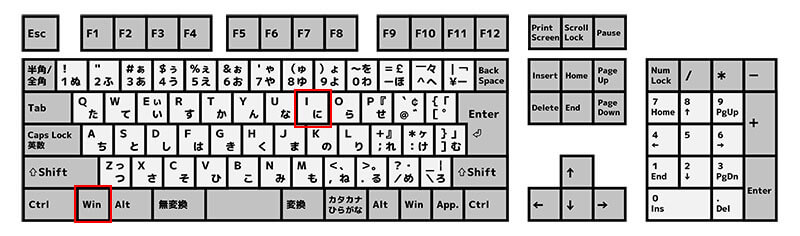 「Windows」キーを押しながら「I」キーを押して設定画面を表示させる